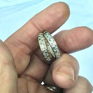 Silver, Gold and Genuine Diamond Hoop Earrings